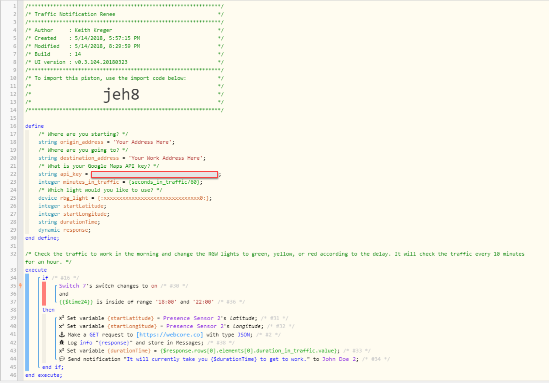 Google map distancematrix API call - Piston: Design Help - webCoRE